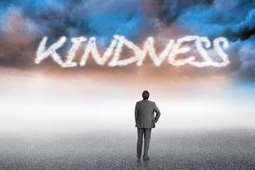 Kindness against cloudy landscape background