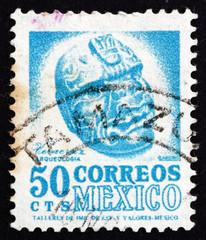 Postage stamp Mexico 1950 Carved Head, Veracruz