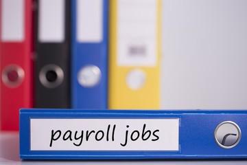 Payroll jobs on blue business binder