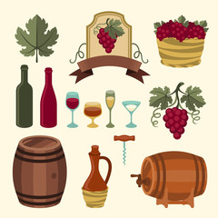 Set of wine icons, elements and objects.