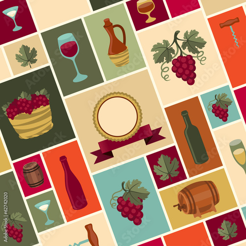 Illustration for wine, wineries and restaurants.