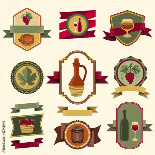 Set of wine labels, badges and elements.