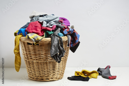 canvas print picture Overflowing laundry basket