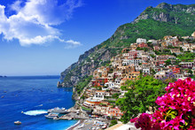 beautiful scenery of amalfi coast of Italy, Positano.