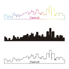 Detroit skyline linear style with rainbow