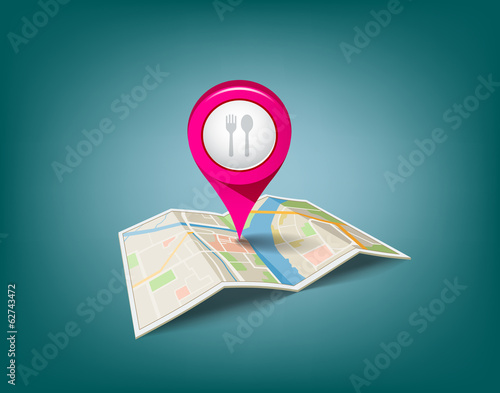 Folded maps with pink color point markers, restaurant