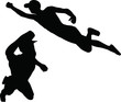 silhouette of superhero flying