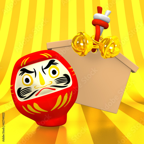 Empty Votive Picture And Daruma Doll With Golden Background