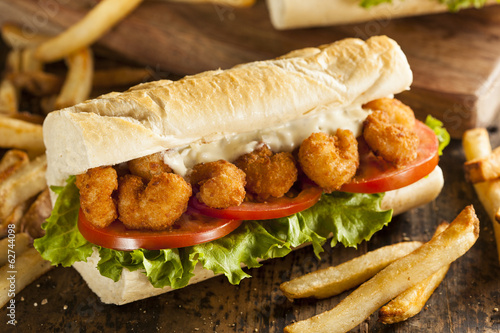 Homemade Shrimp Po Boy Sandwich - 62744098