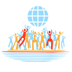 Vector clip art, people dance,world, emblem