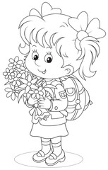 Little schoolgirl with a schoolbag and flowers