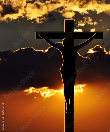 Obraz na Plexi Crucifixion of Jesus Christ at Sunset