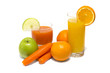 Fresh vegetable juice with carrot apple and orange