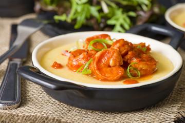 Prawns & Polenta - Soft polenta with tomato and chili prawns