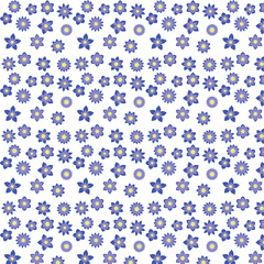 blue flowers with different shapes floral seamless pattern