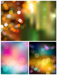 Abstract bokeh three collections background