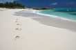 Footprints on the desrt beach of Little Exuma, Bahamas