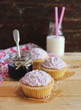 Cupcakes with berry marmalade and buttercream
