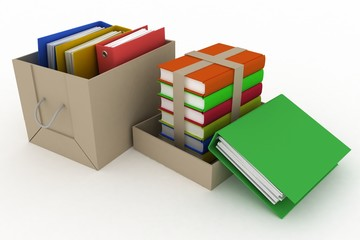 office folders and books in cardboard box on white background