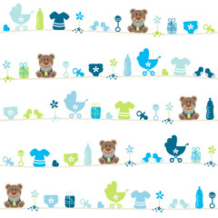Seamless Pattern Teddy Baby Symbols Boy Blue