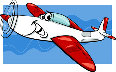 low wing air plane cartoon illustration