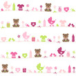 Seamless Pattern Teddy Baby Symbols Girl Pink