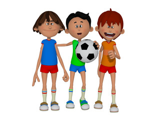 cartoon kids playing football