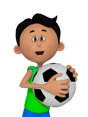 3d cartoon boy with football ball