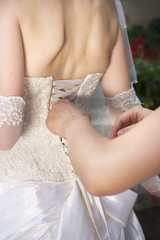 Luxury corset white bridesmaid dresses