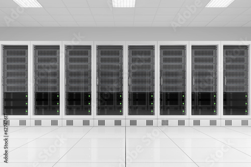 row of data racks in server room