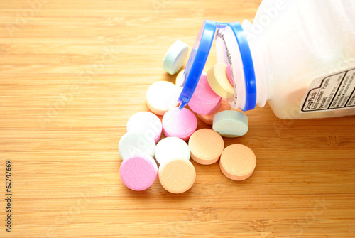 Antacids on a Wooden Table