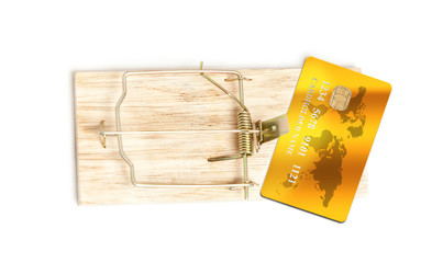 isolated photo of golden credit card in mouse trap as bait