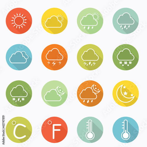 Weather icon long shadow design
