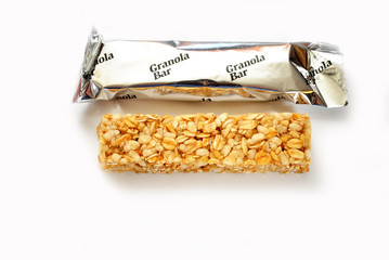 Packaged Granola Bar Isolated Over White