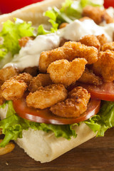 Homemade Shrimp Po Boy Sandwich