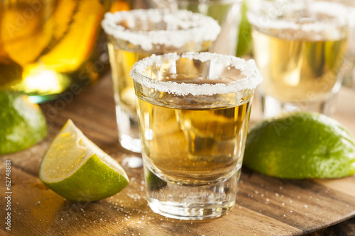 Tuinposter Alcohol Tequila Shots with Lime and Salt