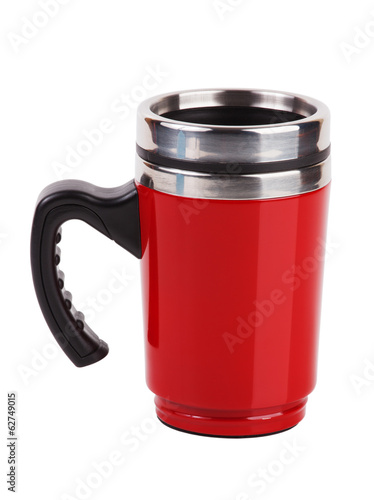 Red metal mug with handle
