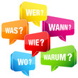 Bunte Sprechblasen Fragen