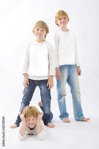 happy children on isolated white background