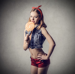 pinup with lollipop
