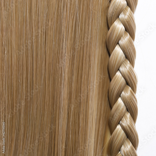 Blonde Straight Hair and Braid or Plait isolated