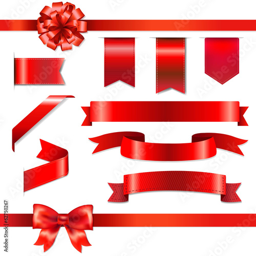 Red Bow With Ribbons Set - 62750267