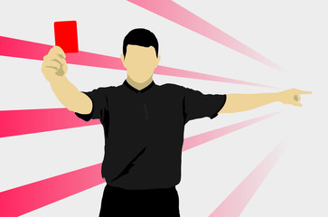 Football referee with red card