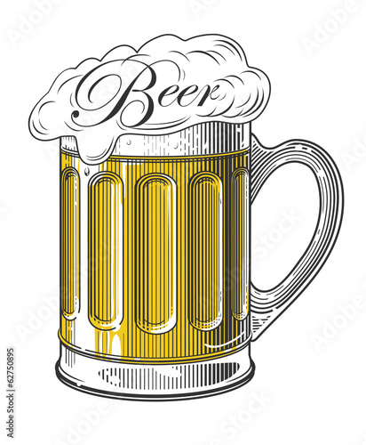 Beer in vintage engraving style on transparent background