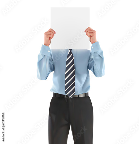 Man in shirt holding blank sign - vector