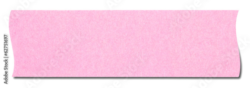 Pink rectangular sticky note isolated, with shadow