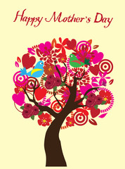 vector mother's day tree