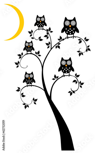 vector tree with owls and moon crescent