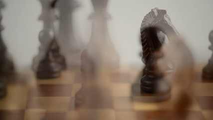 Chess moves compilation on a wooden chessboard