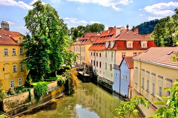 Canal through the Old Town of Prague, Czech Republic
